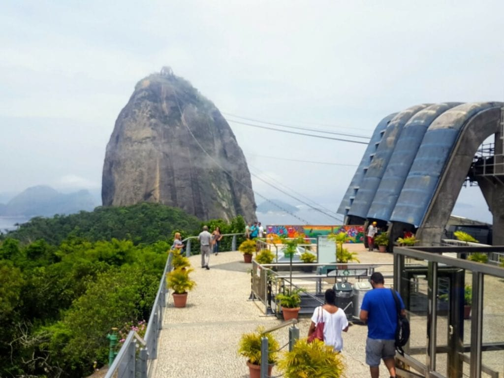 Sugarloaf Mountain pictured on a cloudy day is on of the unique things to do in Rio de Janeiro