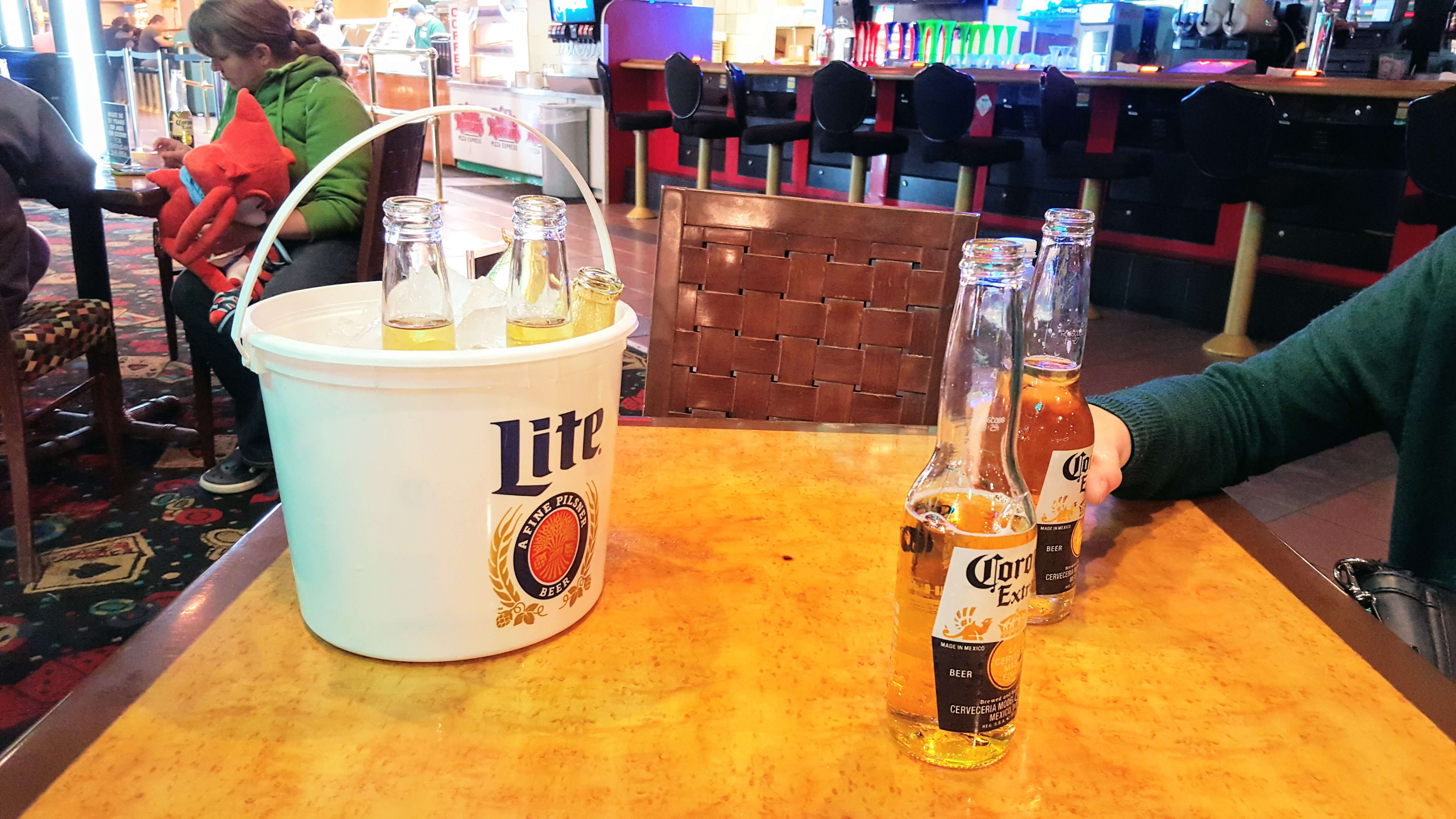 A bucket of beer from Slots a Fun Bar, Circus Circus, a great choice for cheap Drinks Las Vegas Strip