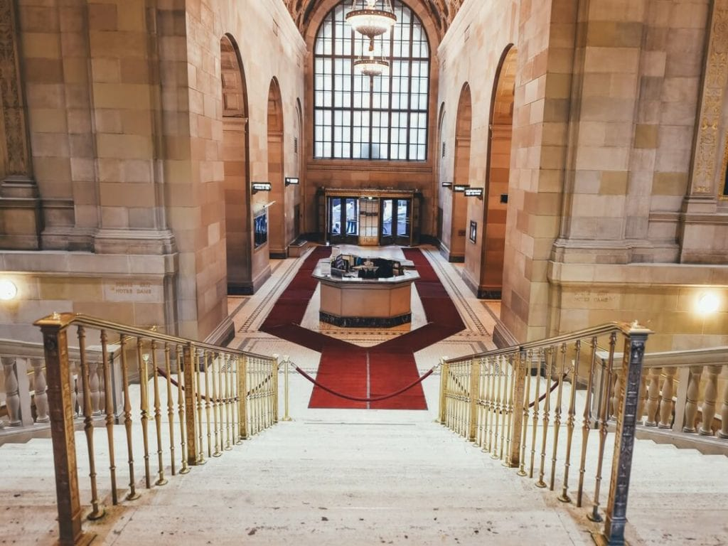 A photo of a hotel foyer