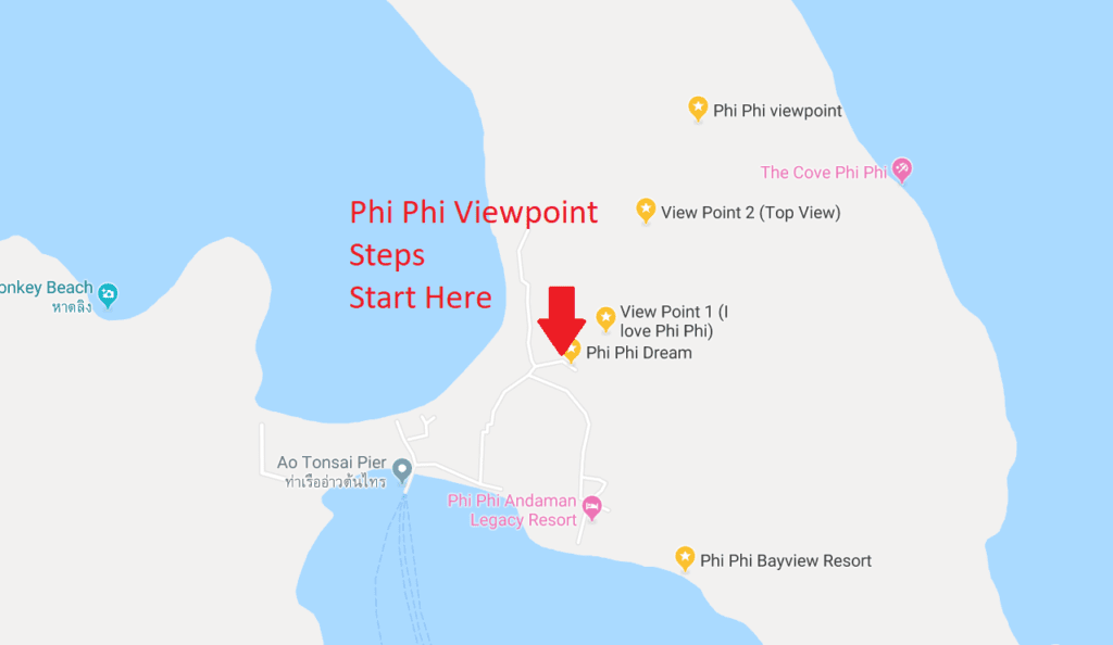 Get to Phi Phi Viewpoint using steps shown in this map