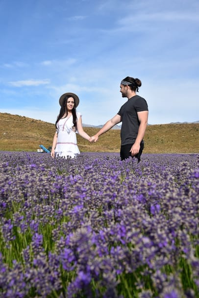 Coupletraveltheworld, travel-couple-in-lavender-field-flowers-south-island-new-zealand, new-zealand-couple-destinations, romantic-places-south-island-new-zealand
