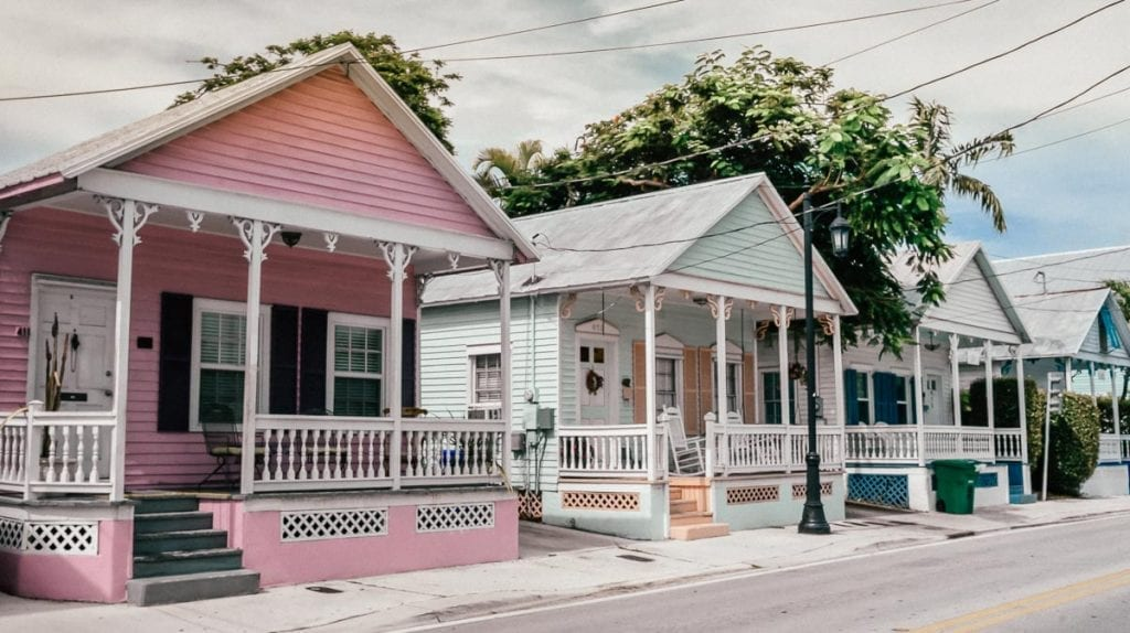 Pink and Blue pastel houses on Duval Street