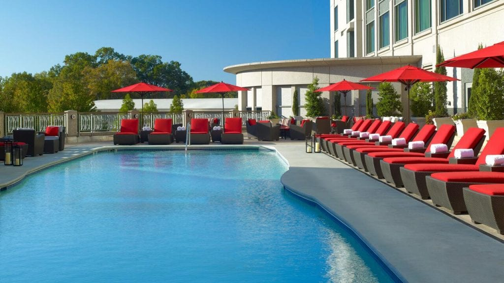 Swimming Pool with red Loungers at InterContinental Buckhead